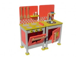 drvena kuhinja za decu šporet i sudopera